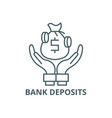 bank deposits line icon bank deposits vector image vector image