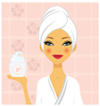 Beautiful woman holding cream vector image