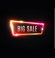 big sale neon text glowing frame vector image