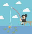 Businessman fishing money vector image vector image