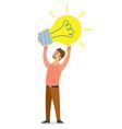 businessman holding lightbulb balloon concept vector image