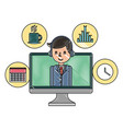 businessman in computer office clock plan coffee vector image vector image
