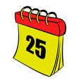 calendar 25 number icon cartoon vector image vector image
