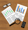 chart and diagram on table vector image
