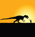child playing with dinosaur in nature silhouette vector image vector image