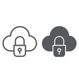 cloud and lock line and glyph icon data and vector image vector image