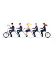 coordinated business team riding tandem bike flat vector image vector image