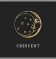 crescent hand drawn in engraving style vector image vector image