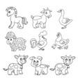 cute cartoon farm animals set black outline on a vector image