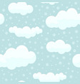 cute clouds with snowflakes seamless pattern vector image vector image