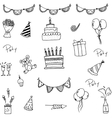 Doodle of set birthday for kids vector image