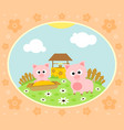 farm background with funny pig vector image vector image