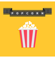 Film strip ribbon line with text Popcorn Red white vector image vector image