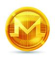 golden monero coin crypto currency blockchain vector image