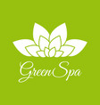 green spa leaf flower logo design template white vector image
