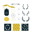 Hand drawn design elements collection Label ribbon vector image vector image