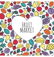 Hand-drawn fruit market concept Heart shape with vector image vector image