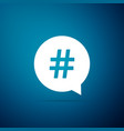 hashtag in circle icon isolated on blue background vector image vector image