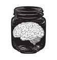 human brain in glass jar isolated sticker print vector image vector image