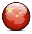 Map on flag button of Peoples Republic of China vector image