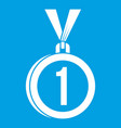 medal for first place icon white vector image