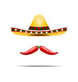 mexican sombrero and chili peppers isolated vector image vector image