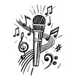 microphone and notes sketch vector image vector image