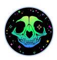 multicolored colored animal skull on black vector image