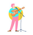 musician with acoustic guitar character vector image