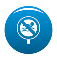 no swimming icon blue vector image vector image