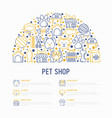 pet shop concept in half circle vector image vector image