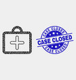 pixelated first-aid case icon and scratched vector image vector image