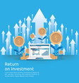 return on investment roi concept business growth vector image vector image