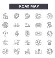 road map line icons signs set outline vector image vector image