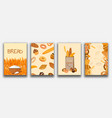 set banner with bakery products wheat rye and vector image