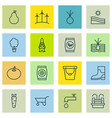 set of 16 gardening icons includes rubber boot vector image vector image