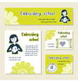 set of cards template for embroidery school vector image