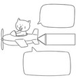set of cat on plane vector image vector image