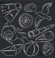 set of summer symbols boat seashell compass vector image