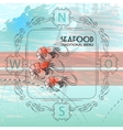 Shrimps silhouette and nautical accses vector image