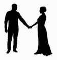 silhouette of a young guy and a girl in a long vector image vector image