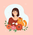 smiling brunette female character with cute cat vector image vector image