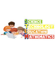 stem logo with kids seaching on laptop isolated vector image vector image