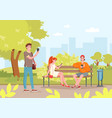 summer city park with people cartoon young vector image vector image