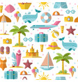summer flat seamless pattern with holyday and vector image