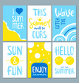 summertime cards set with cute lettering vector image vector image