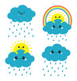 sun cloud rainbow rain set smiling sad face rain vector image vector image