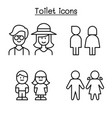 toilet icon set in thin line style vector image vector image