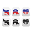 USA political parties button democrats vector image