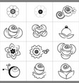 various kind white flower icon on white background vector image